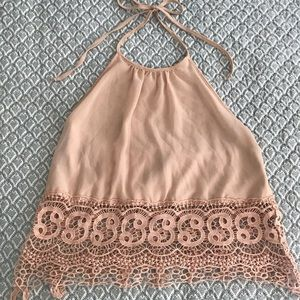 Lace & nude halter top